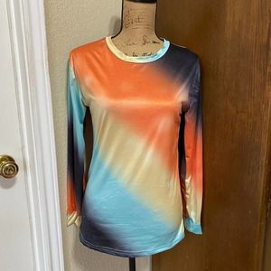 New S/SMALL Women's Tie Dye Spring Long-Sleeve Top